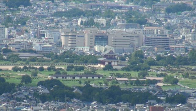 若草山から平城宮跡の「第一次大極殿」
