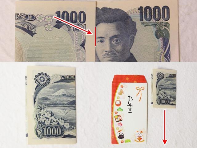 1000円札の三つ折りの仕方