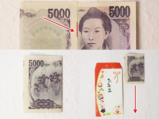5000円札の三つ折りの仕方